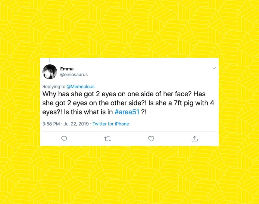 Twitter user einiosaurus wrote Why has she got 2 eyes on one side of her face? Has she got 2 eyes on the otherside?! Is she a 7ft pig with 4 eyes?! Is this what is in area51?!