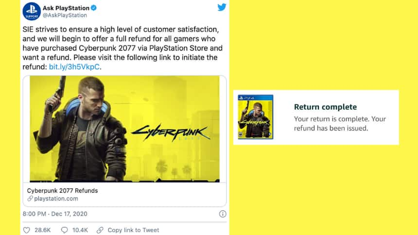 An official tweet from PlayStation twitter saying they are refunding the game. A side by side photo of a refund that was given.