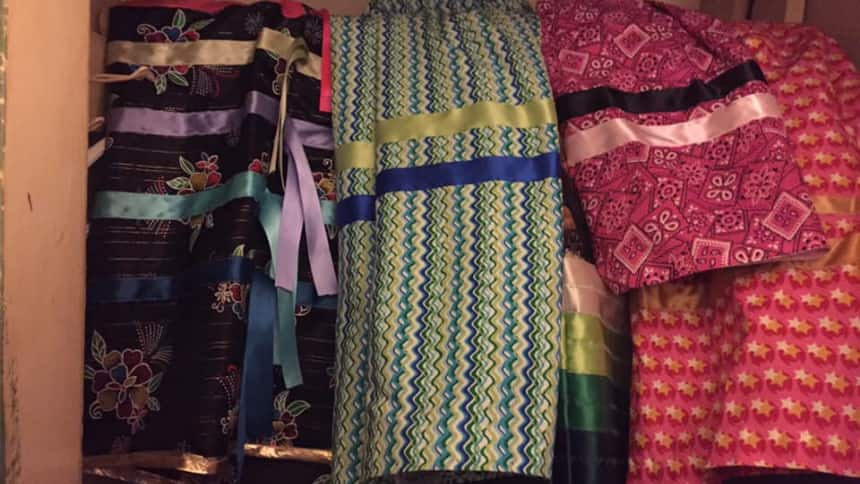 A cupboard of colourful ribbon skirts