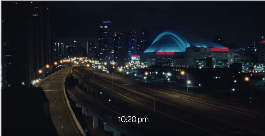 A shot of the Toronto city skyline, with major highways empty.