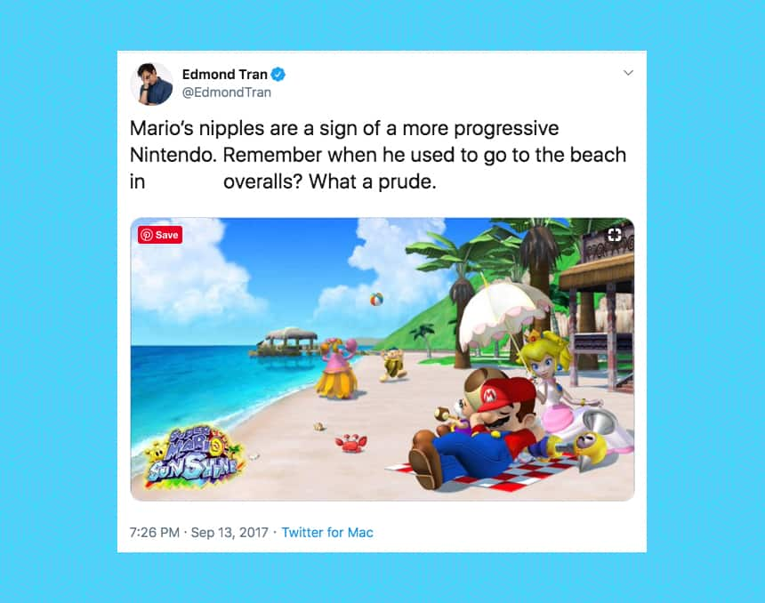 A supportive tweet about shirtless mario, a scandal from 2017