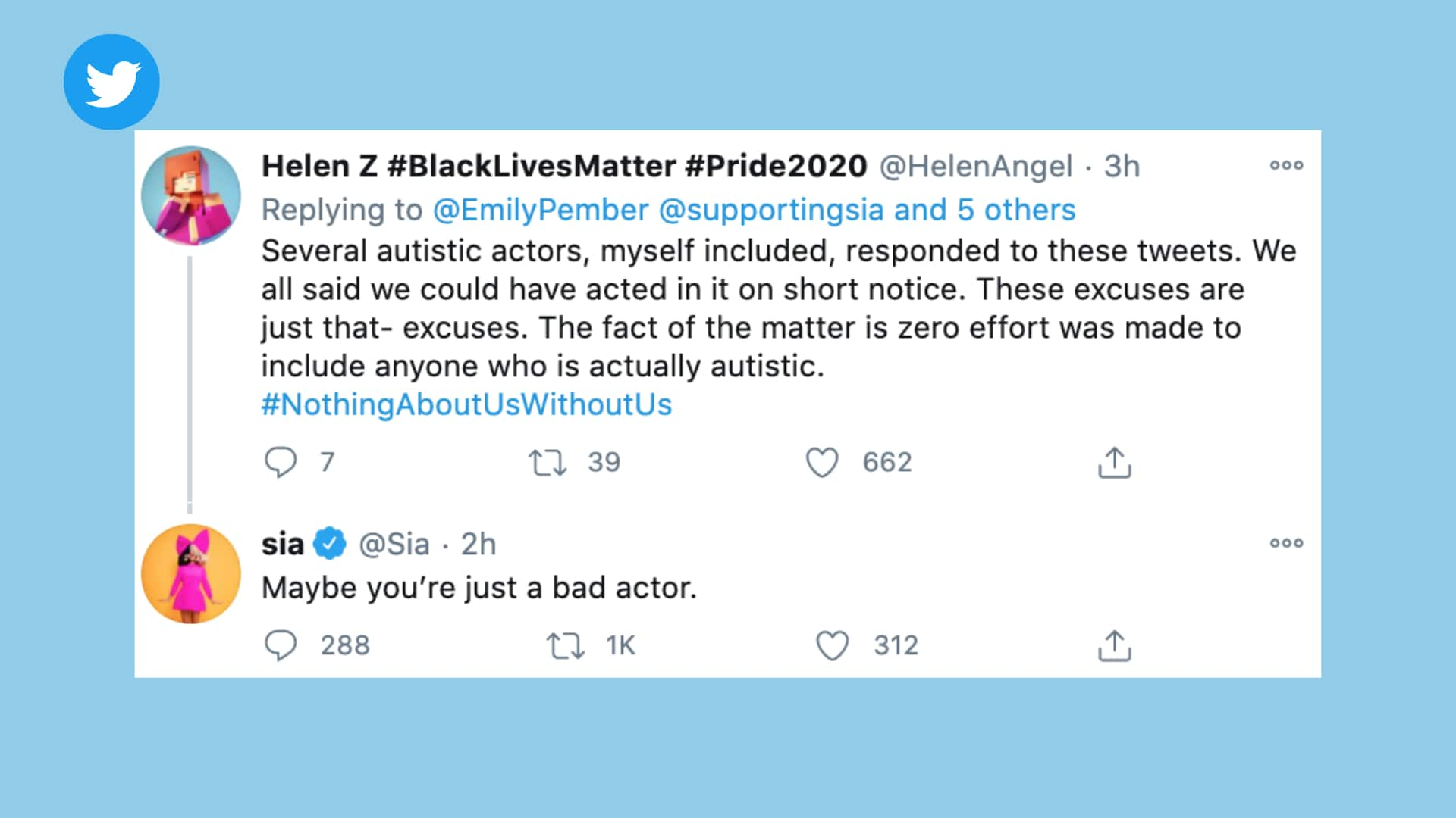 A tweet from Sia responding to a critic and autistic actor saying, maybe you're just a bad actor.