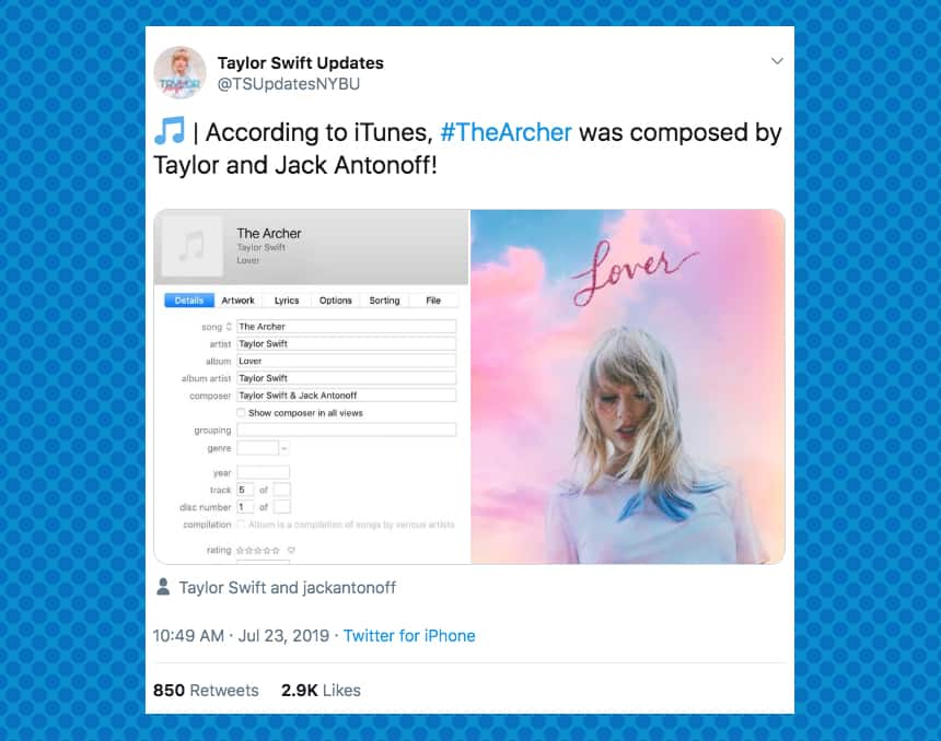 TSUpdatesNYBU tweeted According to iTunes, The Archer was composed by Taylor and Jack Antonoff!