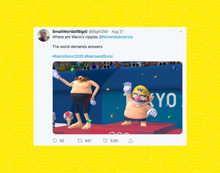 A Twitter user asks where Wario's nipples are in the trailer for Sega's new game