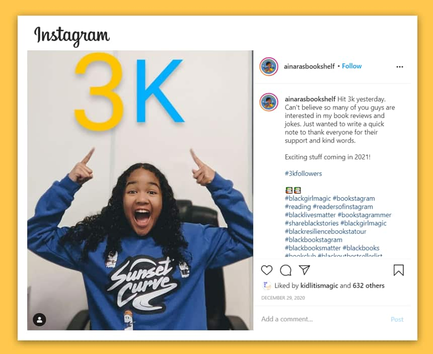 A screenshot of Ainara's Instagram post with her pointing to a giant 3K floating above her