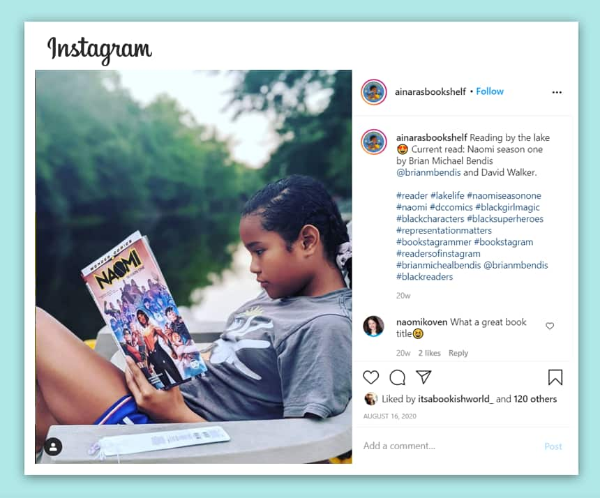 A screen shot of Ainara reading in a post on Instagram