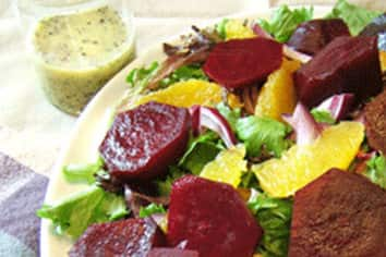Orange Poppy Seed Dressing with Crispy Greens and Roasted Beets