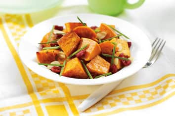 Roasted Sweet Potato Salad with Cranberries and Sliced Almonds