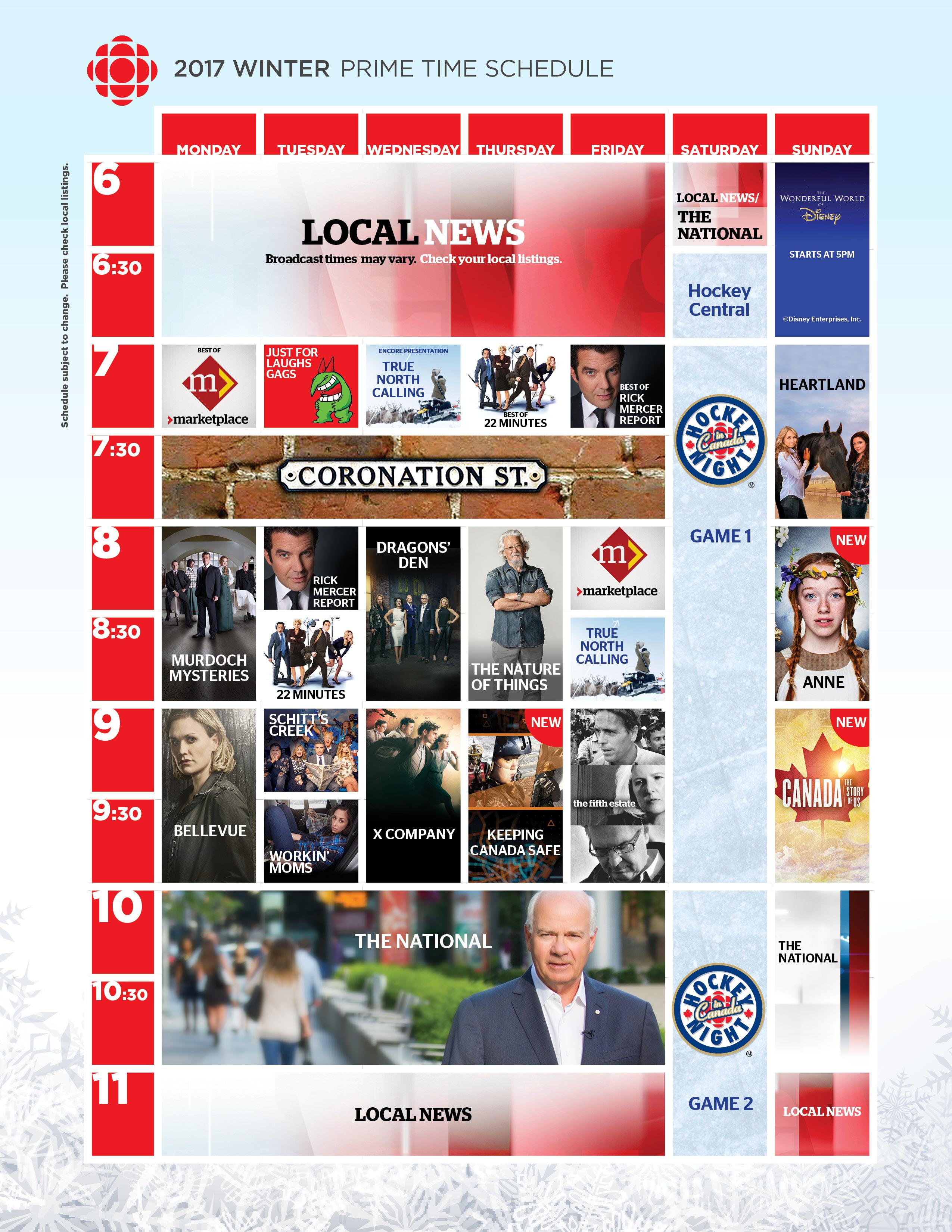 CBC TV Winter 2017 Prime time Schedule