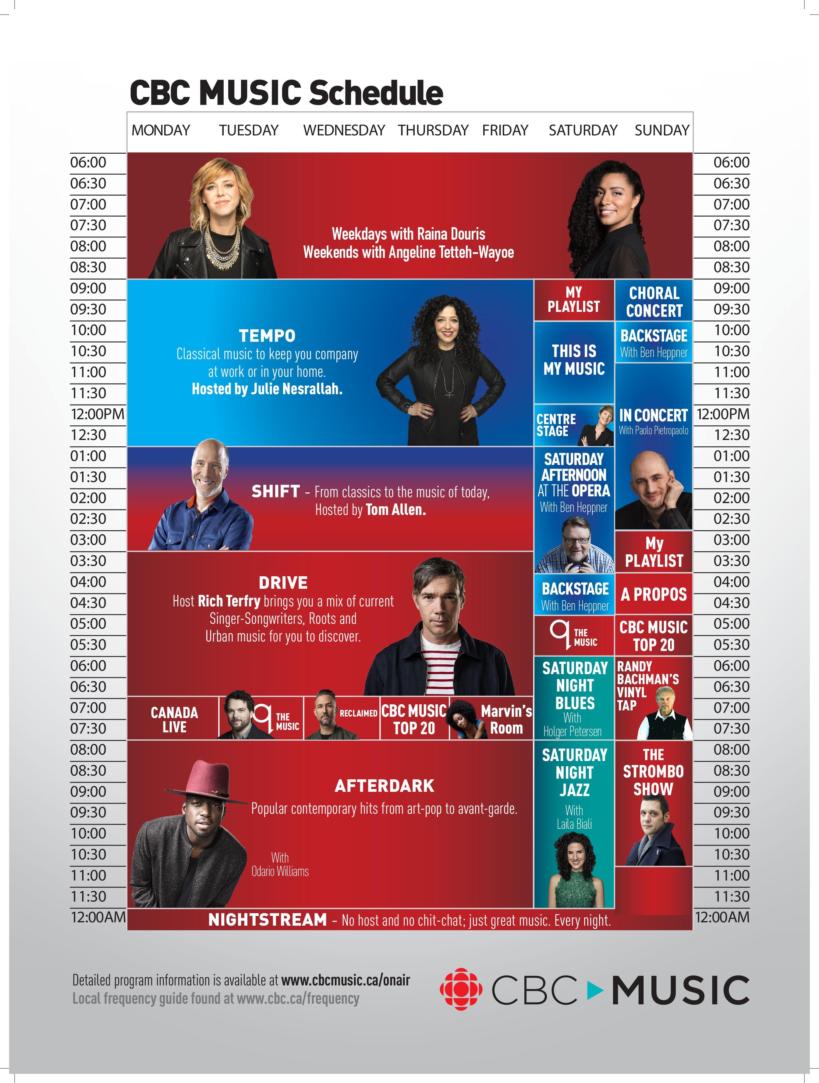 CBC Music Schedule
