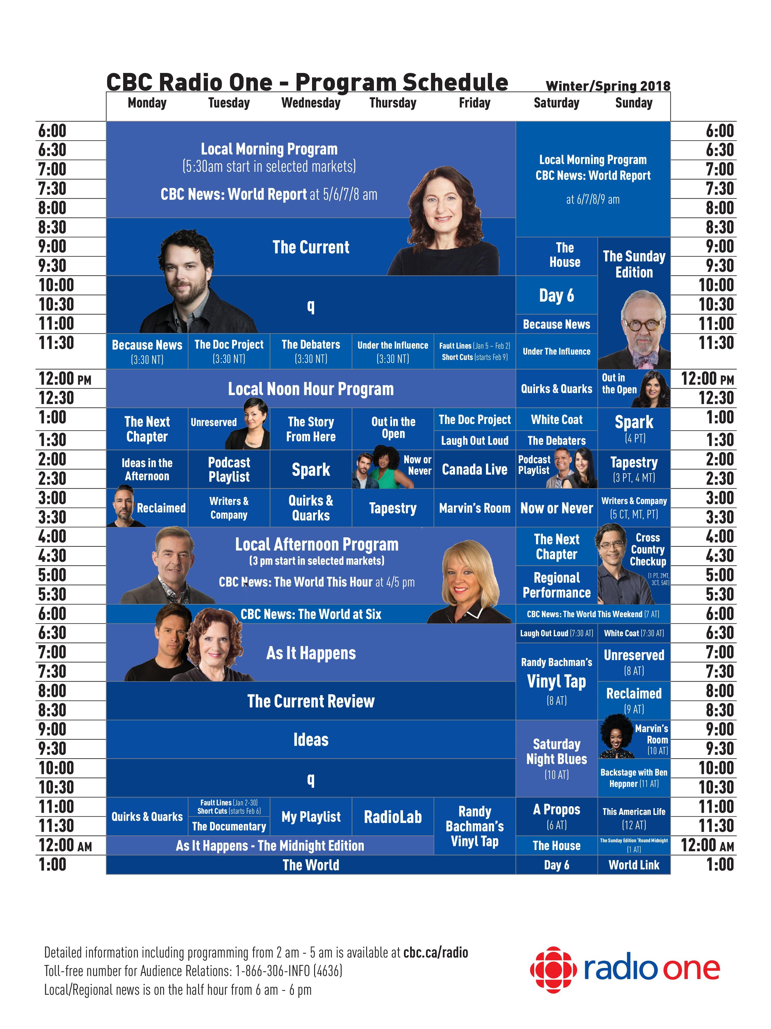CBC Radio One Winter/Spring 2018 Schedule