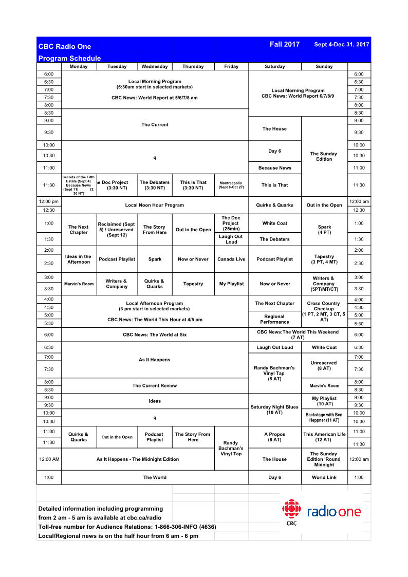 CBC Radio One Fall 2017 Schedule