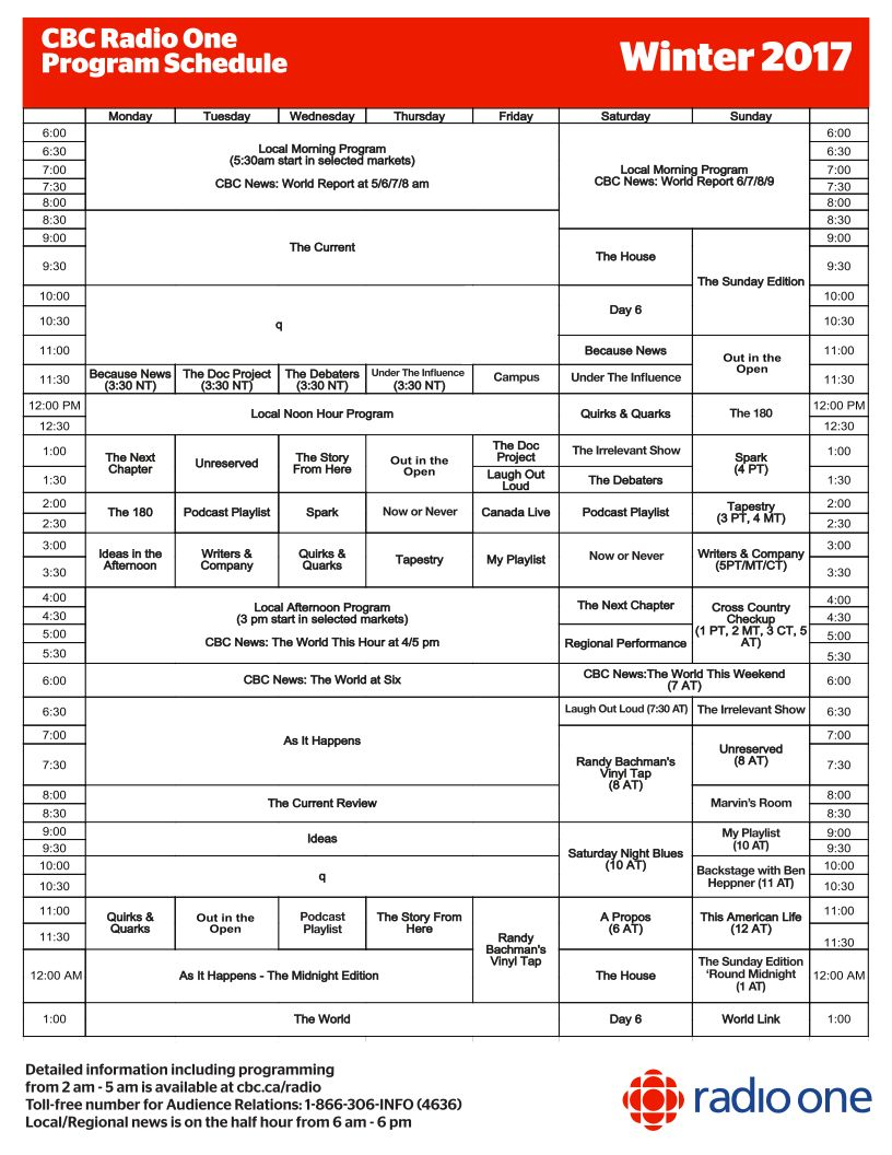 CBC Radio Winter 2017 Schedule