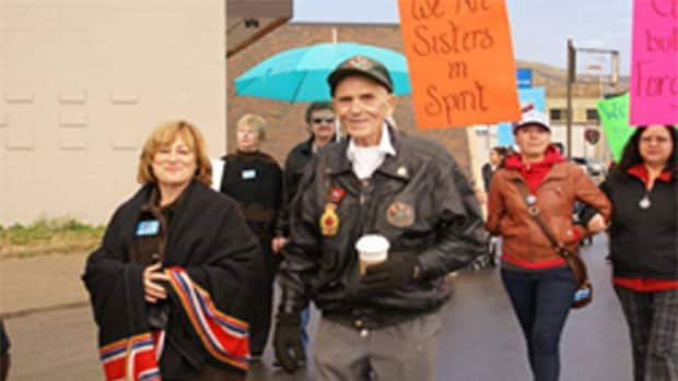 Bella, pictured here in a leather jacket, participated in this Sisters in Spirit walk in Peace River in Northern Alberta in 2011. She fell to her death from a Toronto high rise two years later. (Danya Auger)