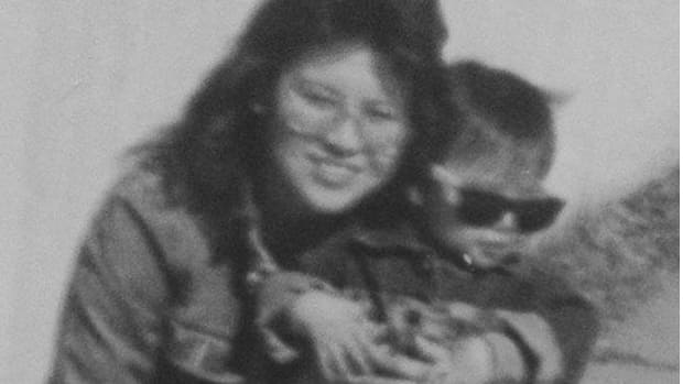 Sandra Johnson with her nephew in Thunder Bay in early 1991, the year before she was murdered. (Supplied by family)