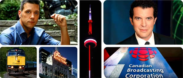 Rick Mercer, George Stroumboulopoulos, Via Rail Canada, CBC Broadcast Centre, Fairmont Royal York, CN Tower Toronto.