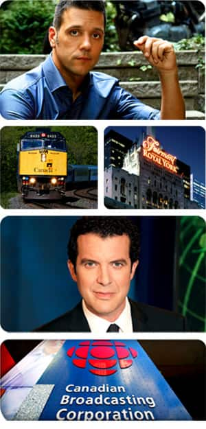 Rick Mercer, George Stroumboulopoulos, Via Rail Canada, CBC Broadcast Centre, Fairmont Royal York, Toronto.