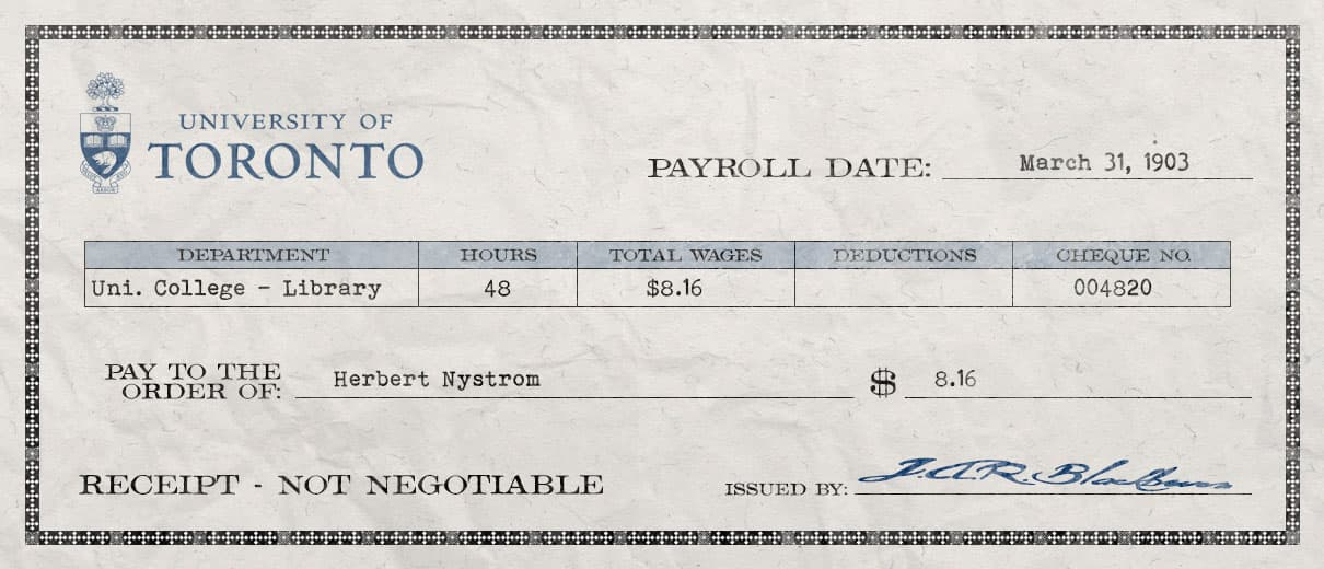 A pay stub for Herbert from the University College Library at U of T.