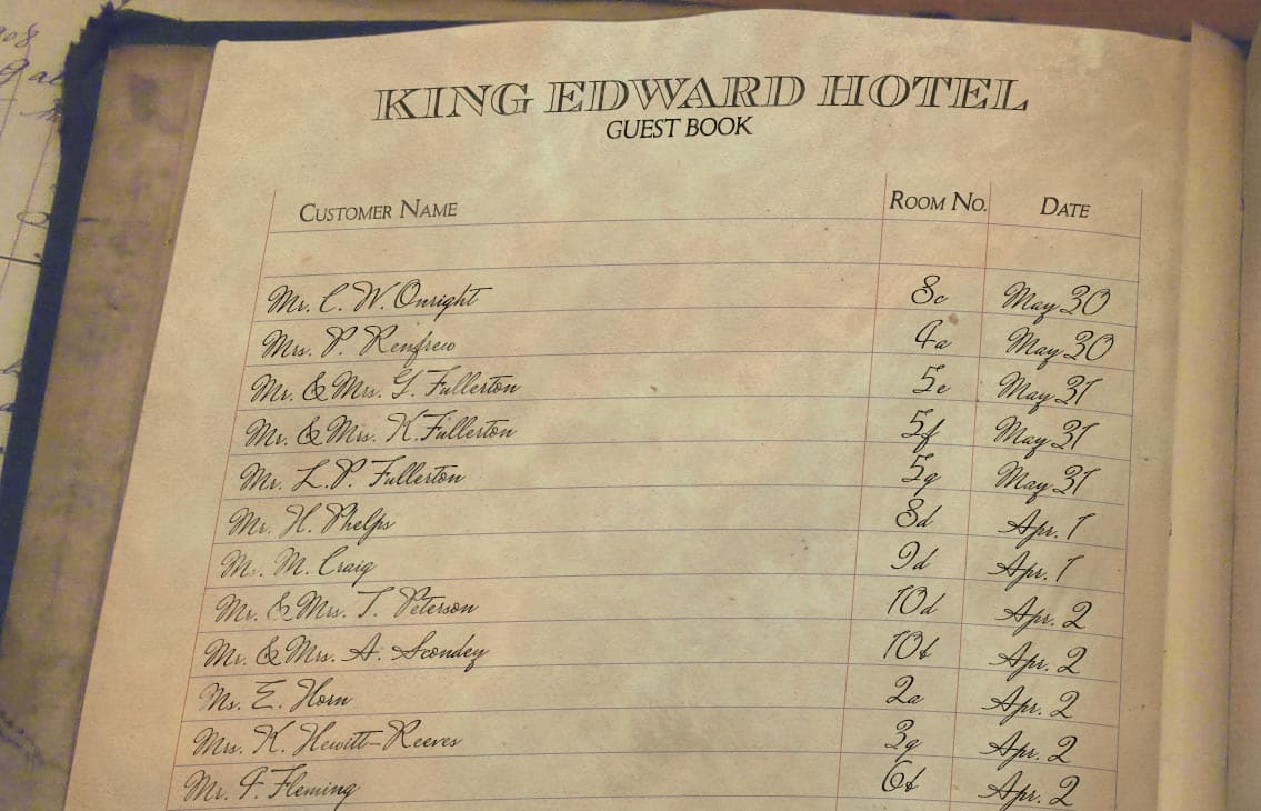 A page from the King Edward Hotel guest book showing the Scondeys in room 10B.
