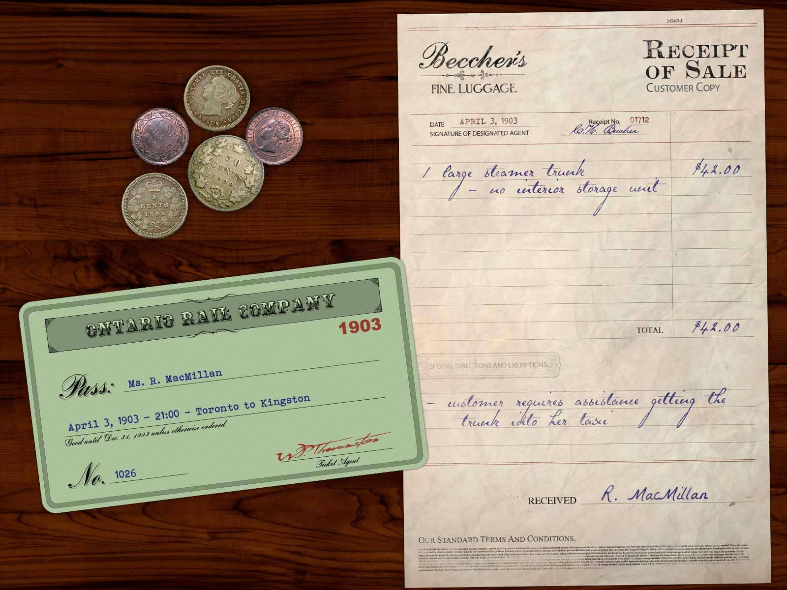 The contents of Rachel MacMillans purse include a train ticket from Toronto to Kingston, a receipt for luggage from a store called Beecher's, and some coins.