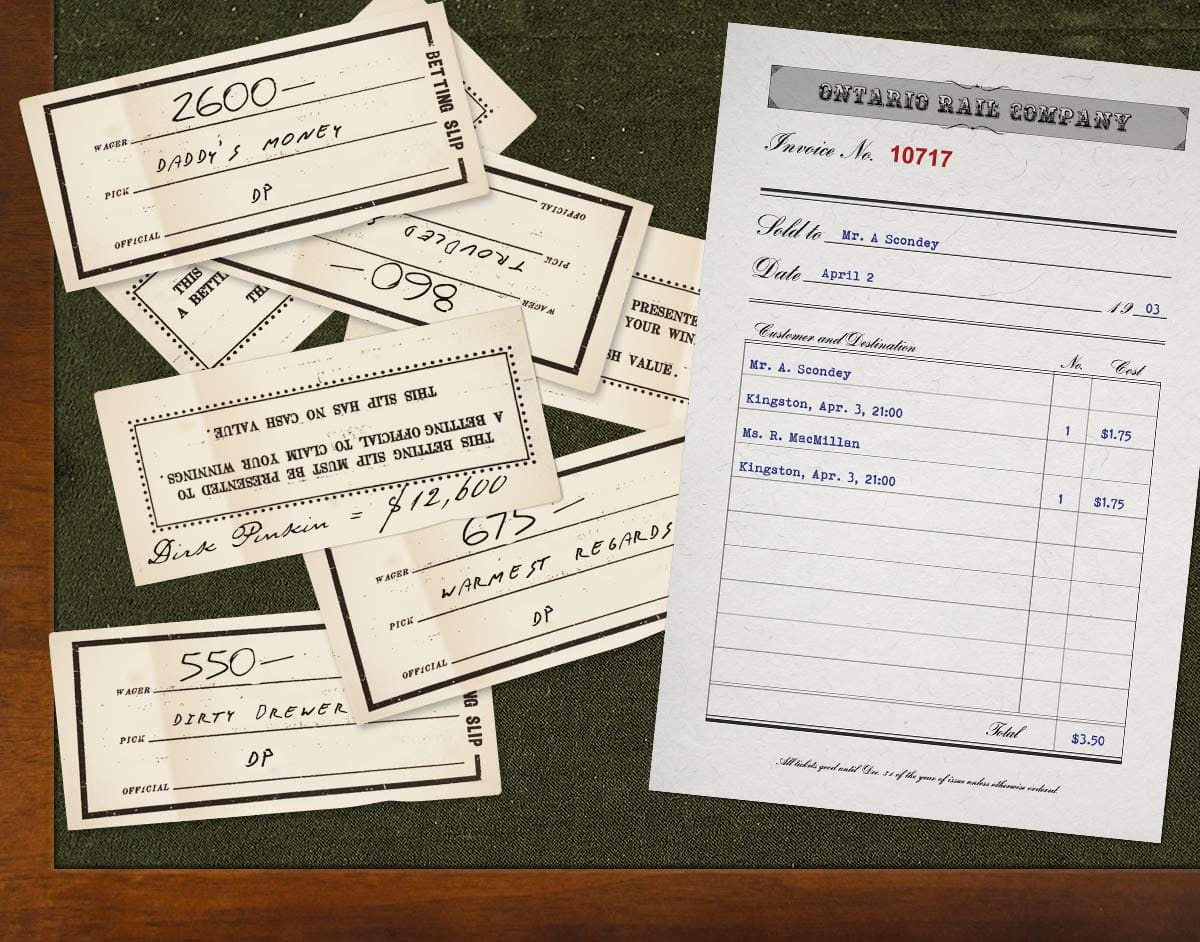 Scondey's desk contains several betting slips, a note reading