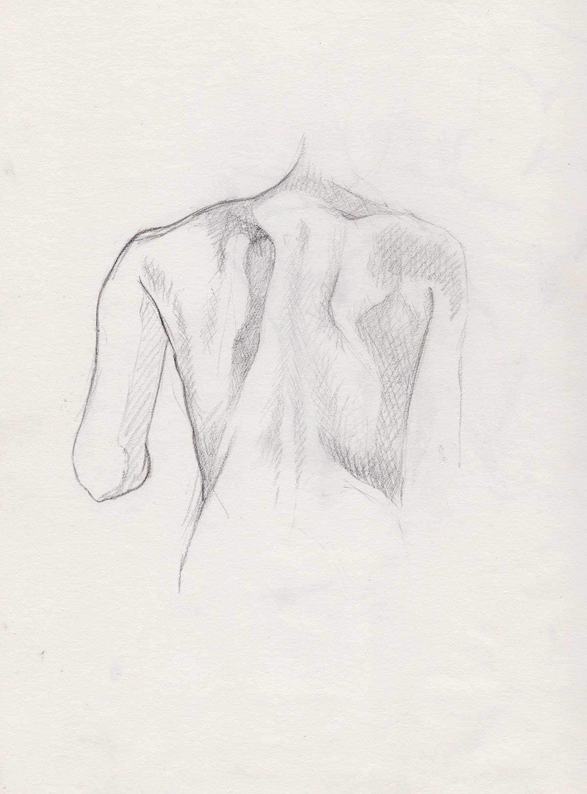 A sketch of a woman's back