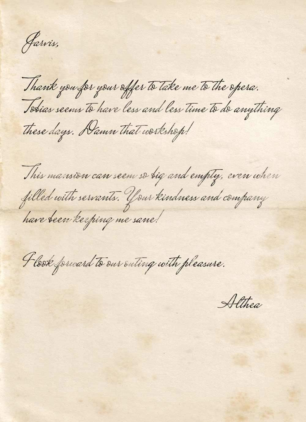 A note from Althea to Jarvis, thanking him for inviting her to the opera.