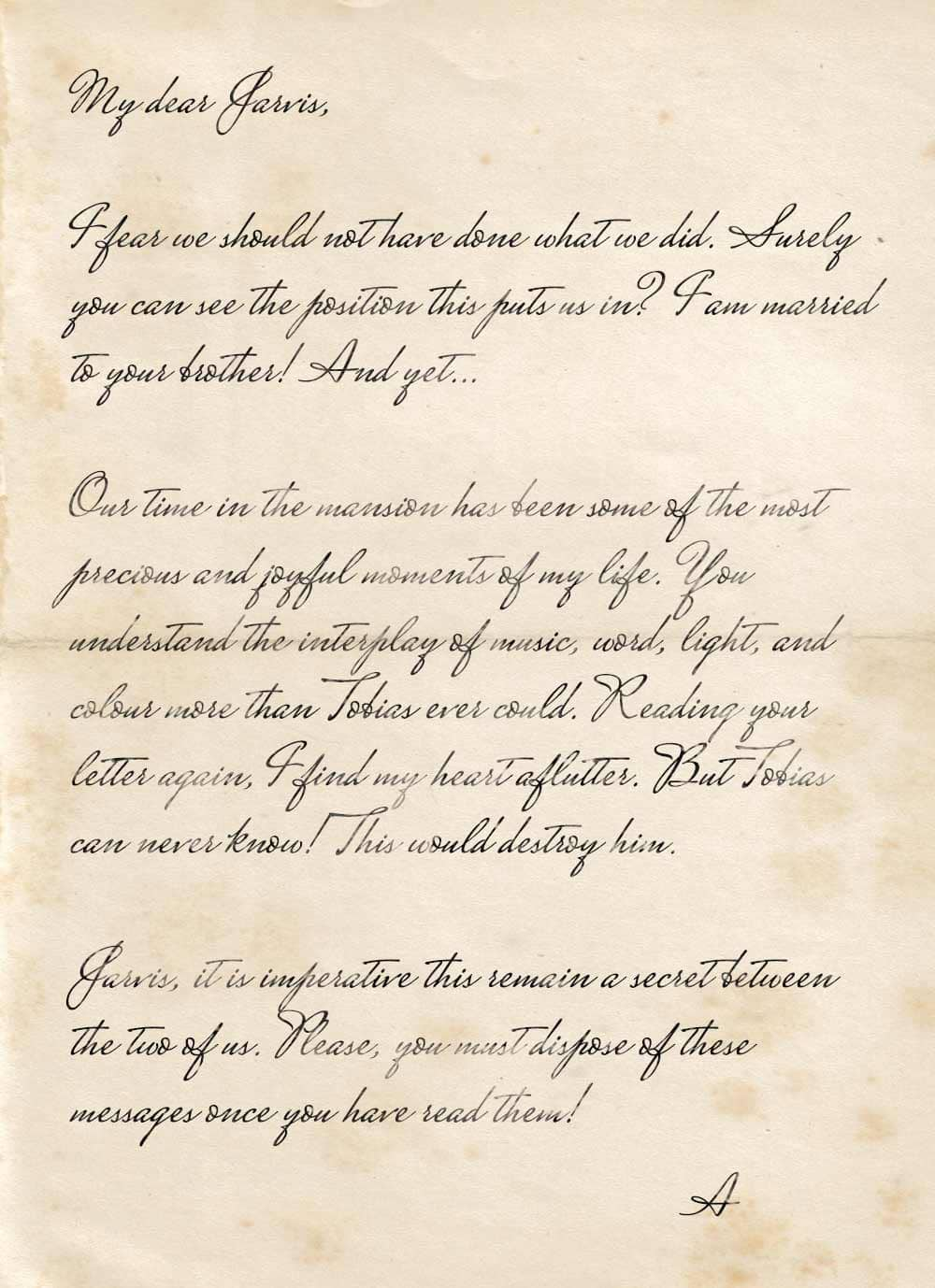A note from Althea to Jarvis revealing an affair between the two of them.