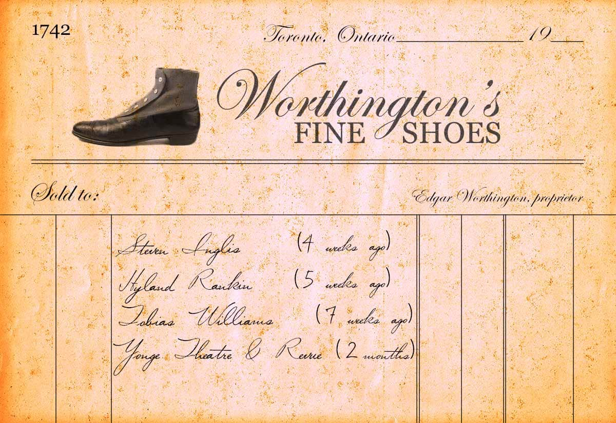 A list of names: Steven Inglis, Hyland Rankin, Tobias Williams, and Yonge Theatre & Revue