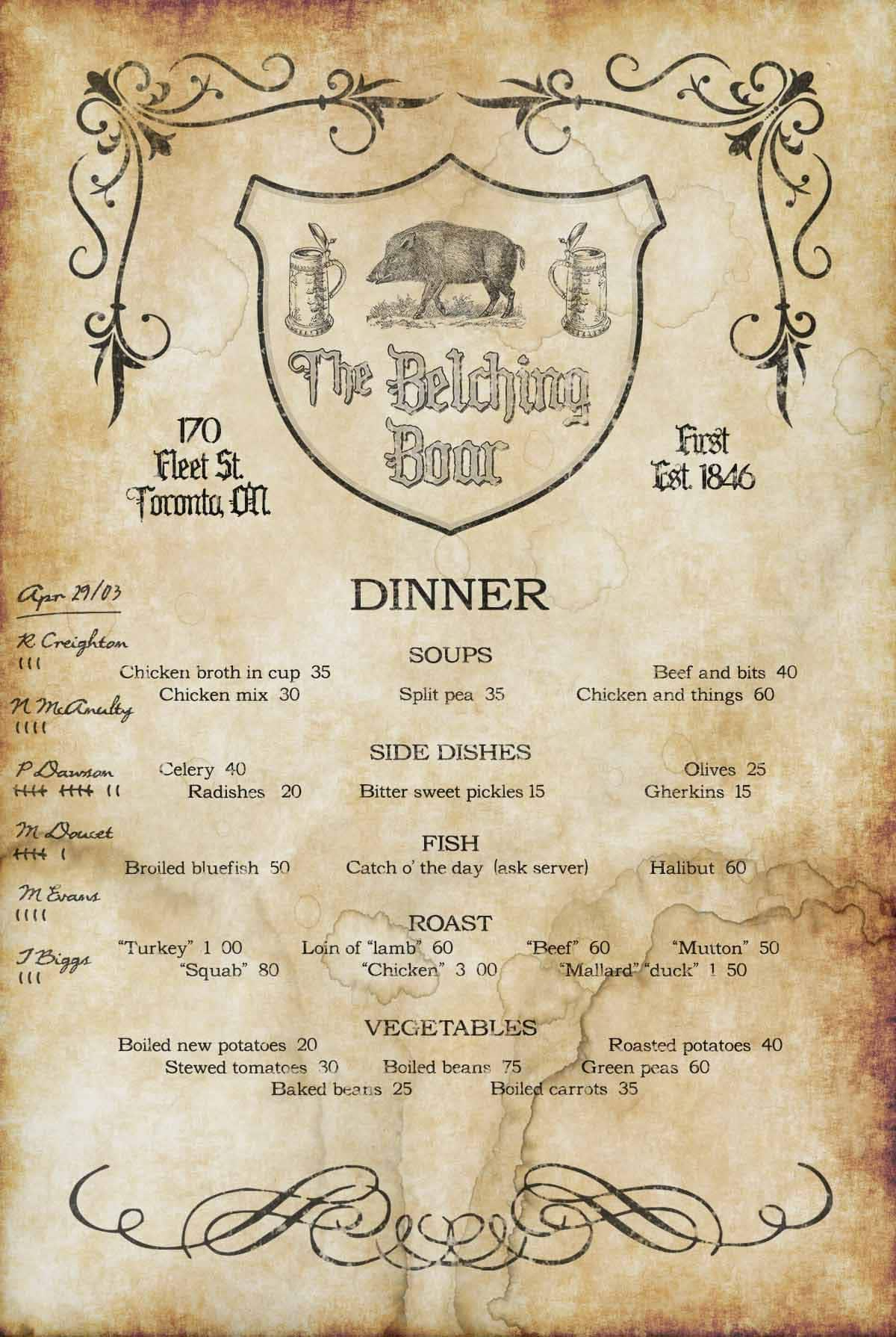 A menu from the Belching Boar with handwritten tallies in the margin clearly indicating that P. Dawson won a contest on the night of Apr. 29, 1903.