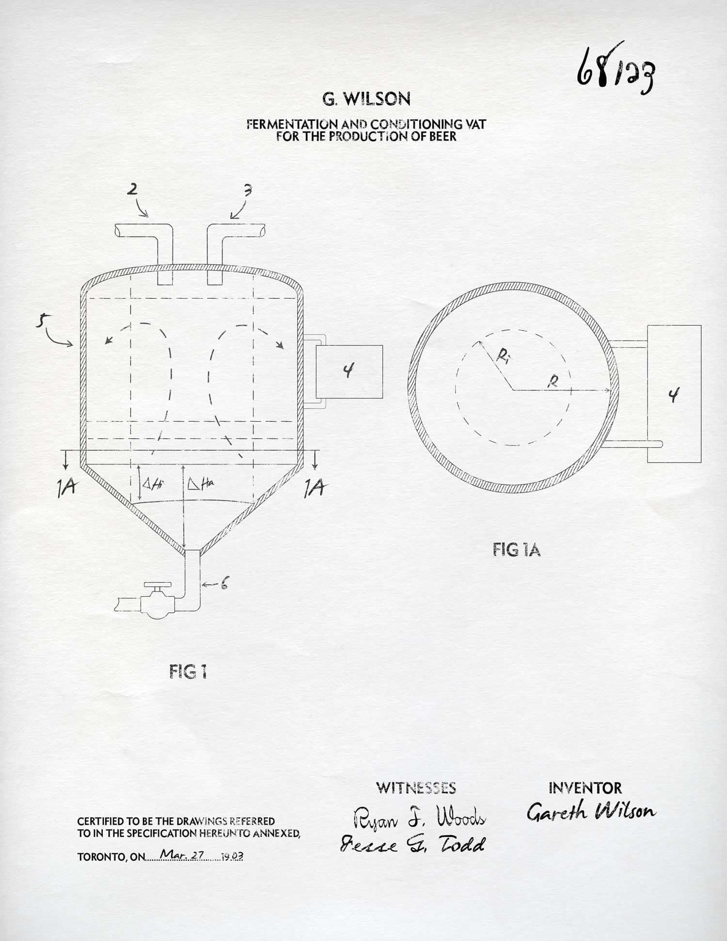 Gareth Wilson's successful patent for a beer vat that combines fermentation and conditioning.