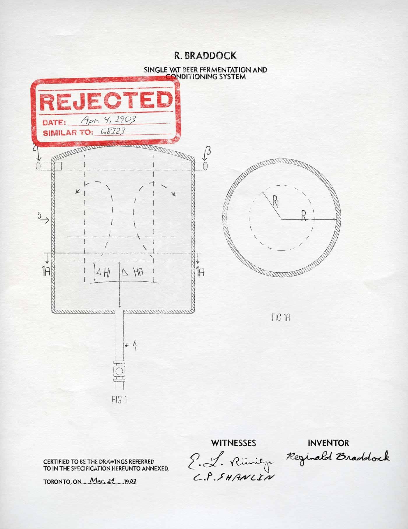 Reginald Braddock's rejected patent application for a beer vat similar to Gareth Wilson's.