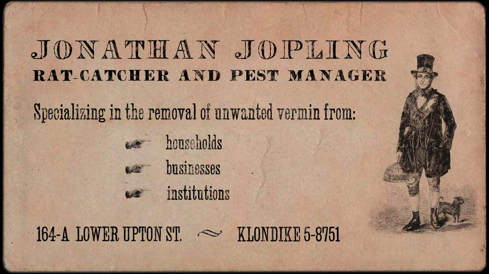 A business card for Jonathan Jopling: Rat-Catcher and Pest Manager.