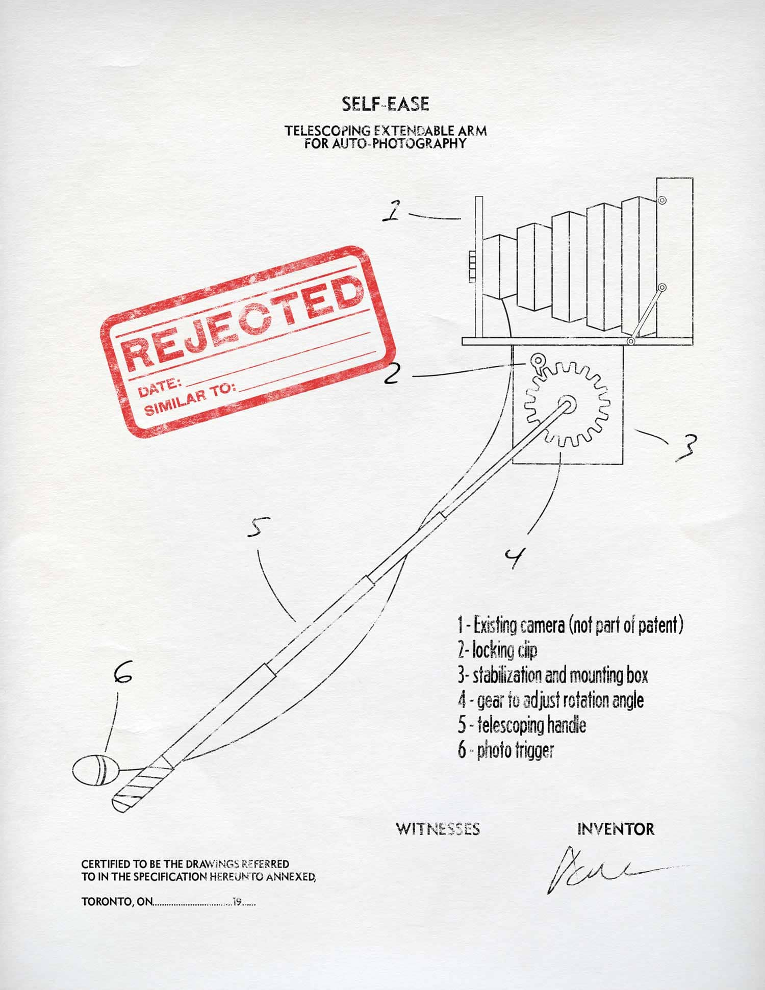 A patent for SELF-EASE, a telescoping extendable arm for auto-photography.