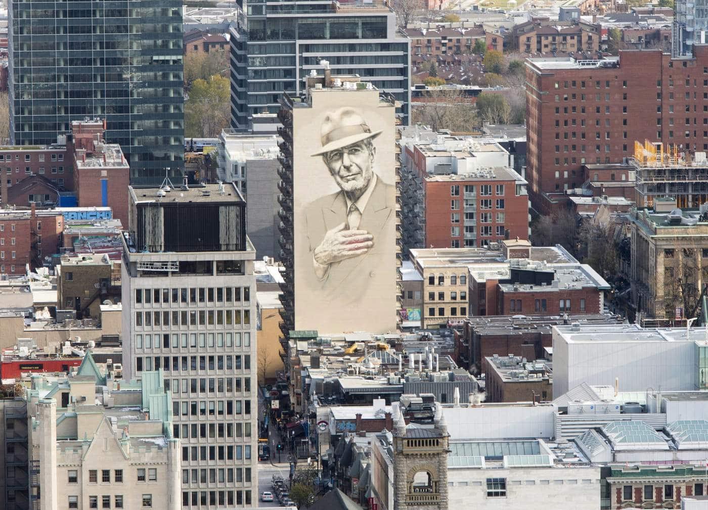 Montreal s leonard cohen comes home for Mural leonard cohen