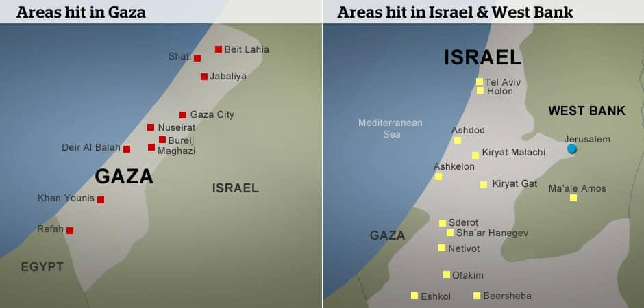 Air strikes, rocket s in the Israel-Gaza conflict ... on jerusalem to gaza map, israel west bank map, west bank and gaza map, 2014 israel map, gaza strip map, israel gaza strip,