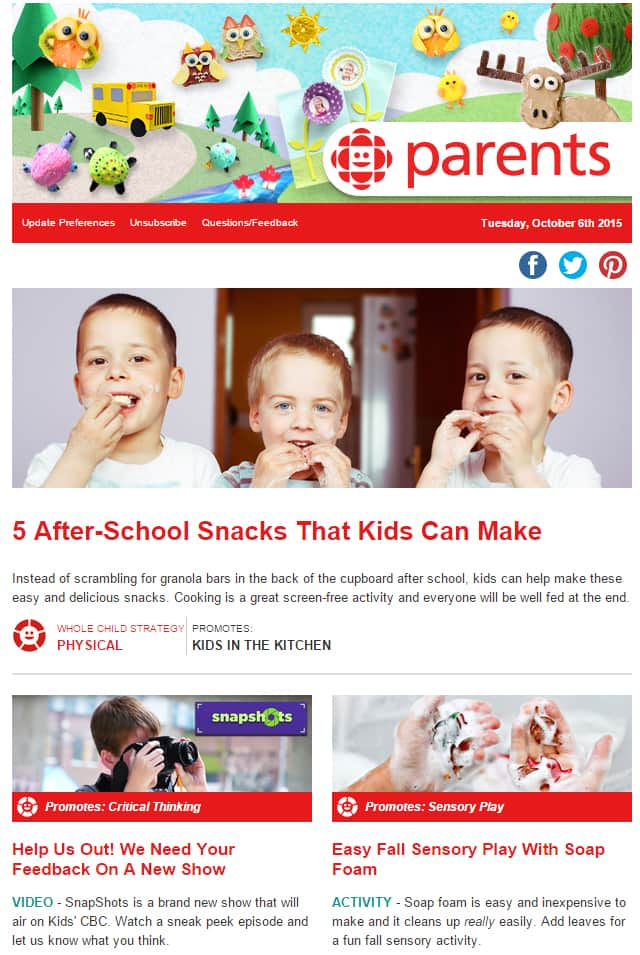 A sample of the CBC Parents newsletter.