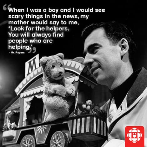 An image of Mr Rogers with the quote about looking for helpers overlaid on the image.