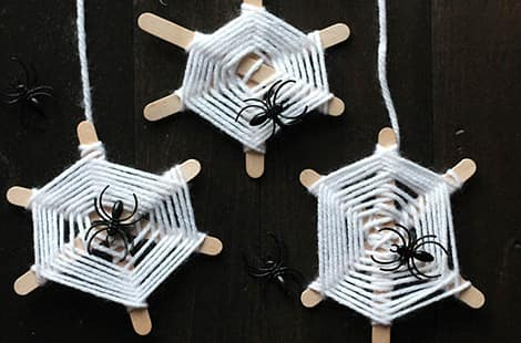 Three spider webs, with spiders!