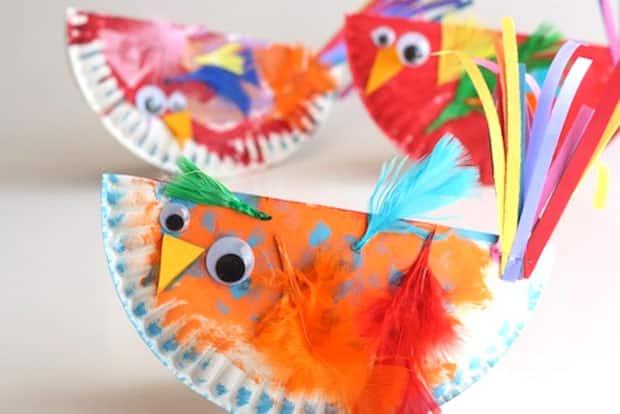 Paper Plate Craft Rocking Birdies