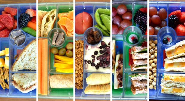 5 days of school lunches in bento boxes