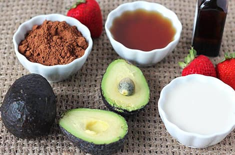Ingredients used to make avocado chocolate pudding.