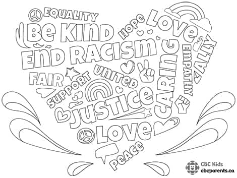 Black Lives Matter word cloud colouring sheet