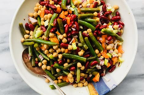 Close-up of three bean salad.