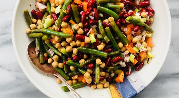Close-up of three bean salad.