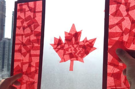 Canadian flag contact paper craft on window.