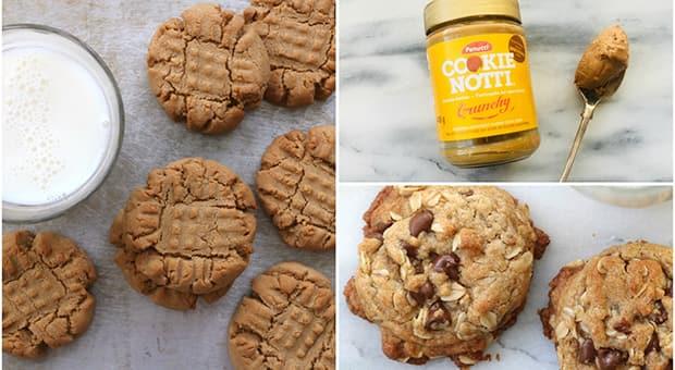 Triptic of cookie butter cookies, jar of cookie butter spread and cookie butter oatmeal cookies
