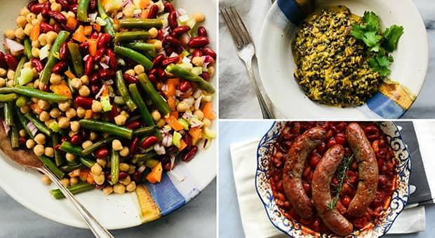 Triptic of three bean salad, cassoulet, lentil dal