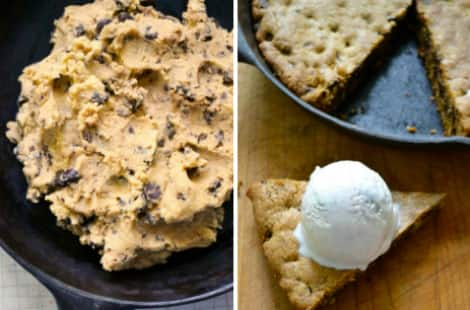 Collage: Cookie dough being press dropped into a skillet and the completed skillet cookie with a slice cut out with ice cream on top