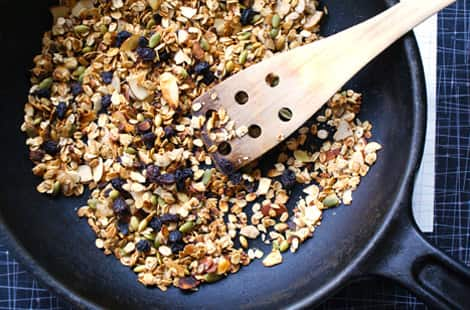 Granola on the stovetop in a skillet